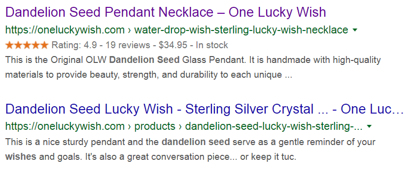 Rich Snippets Example of One Lucky Wish product